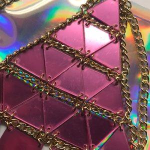 Pink sequin bra harness top hot metallic mirror